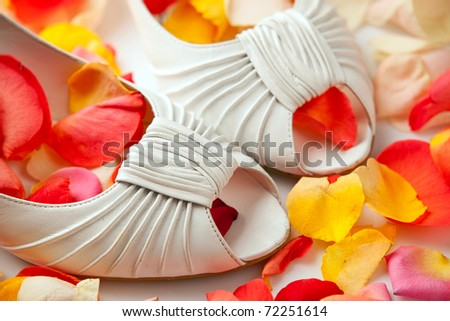 Pair of white bride's shoes covered with rose petals - stock photo