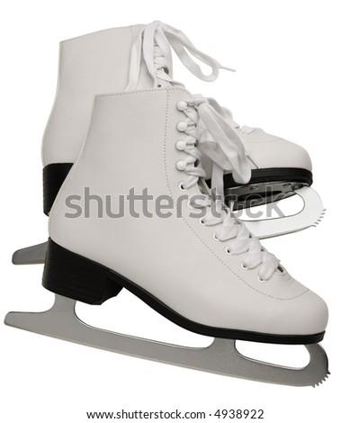 Pair of White Figure Skates - isolated on white - stock photo