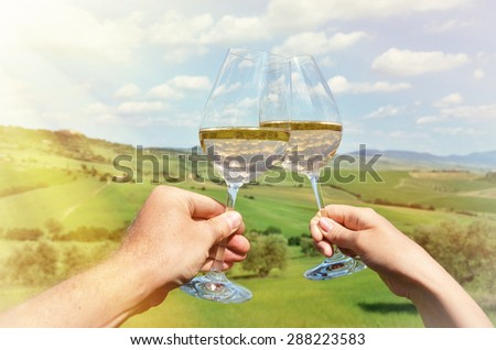 Pair of wineglasses. Tuscany, Italy - stock photo