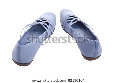 Pair of women's shoes, isolated on white - stock photo