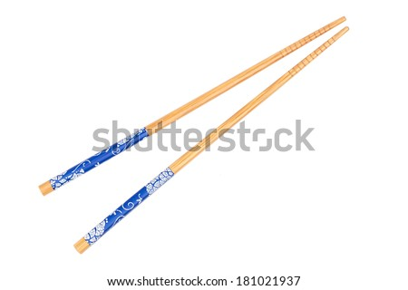 Pair of wood chopsticks isolated on the white background - stock photo