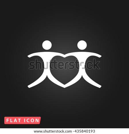Pair White flat icon on dark background. Simple illustration pictogram - stock photo