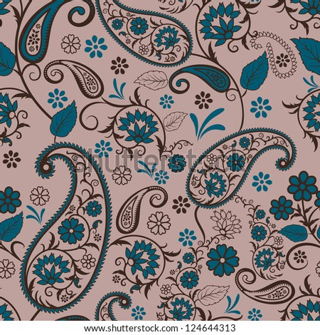 Paisley seamless pattern  for your design. Raster copy of vector file. - stock photo