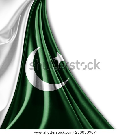 Pakistan flag and white background - stock photo