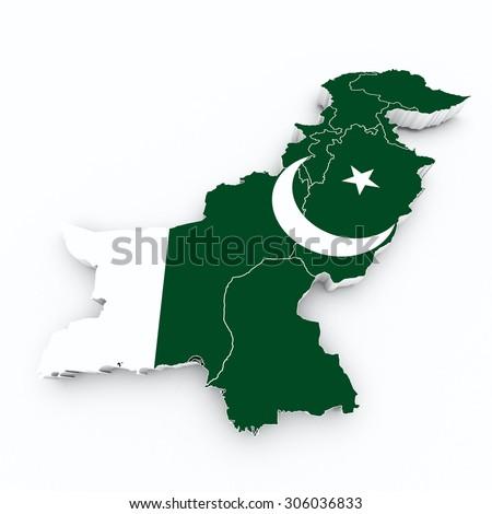 pakistan flag on 3d map - stock photo