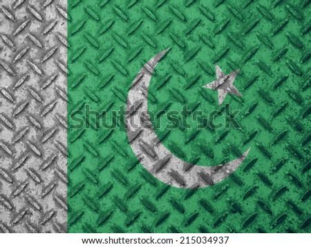 Pakistan flag on grunge wall - stock photo