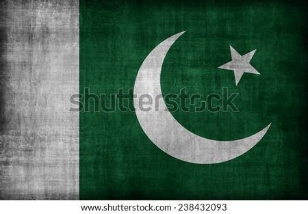 Pakistan flag pattern ,retro vintage style - stock photo