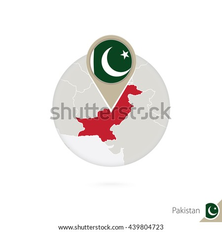 Pakistan map and flag in circle. Map of Pakistan, Pakistan flag pin. Map of Pakistan in the style of the globe. Raster copy. - stock photo
