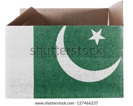 Pakistan. Pakistani flag painted on carton box or package - stock photo