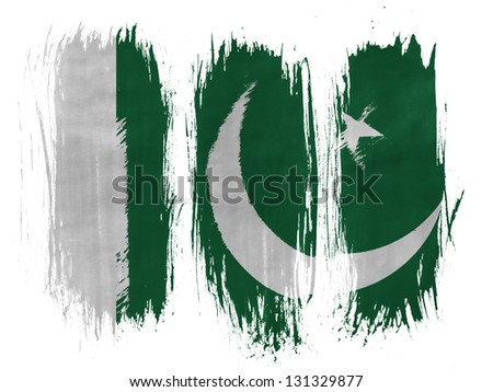 Pakistan. Pakistani flag painted with 3 vertical  brush strokes on white background - stock photo