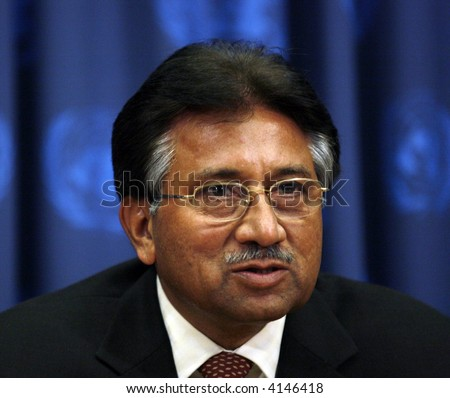 Pakistan's President Pervez Musharraf answering questions during a press conference at the United Nations Headquarters on  September 20, 2006 in New York City. - stock photo