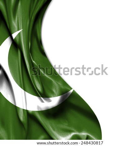 Pakistan waving silky flag isolated on white background - stock photo