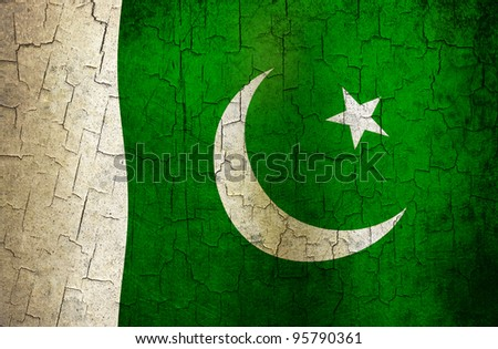 Pakistani flag on a cracked grunge background - stock photo