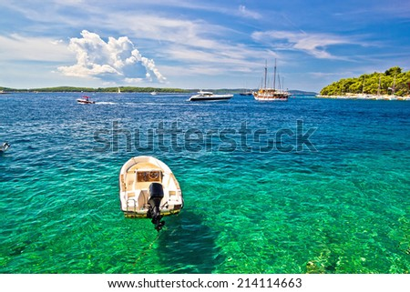 Paklinski Islands famous yachting and sailing destination near Hvar in Dalmatia, Croatia - stock photo