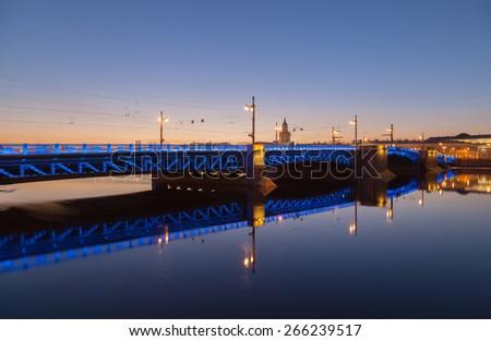 Palace Bridge (Dvortsoviy Most)  in Saint-Petersburg - stock photo