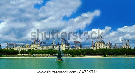 Palace Fontainebleau - panorama, Ile-de-France, France, UNESCO - stock photo