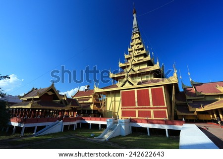Palace in Mandalay, Myanmar - stock photo