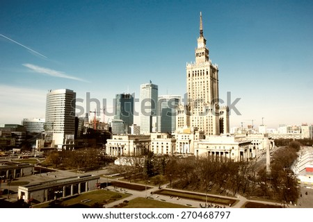 palace of culture and science landmark of Warsaw - center of the Polish capital - stock photo