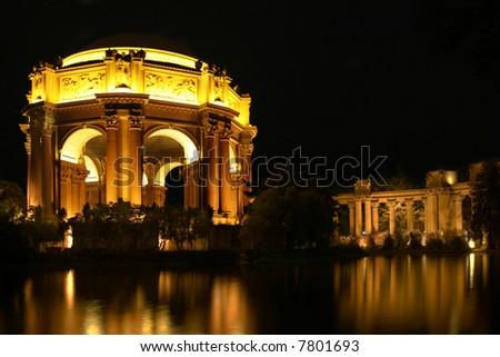 Palace of Fine Arts at night, San Francisco, California, USA - stock photo
