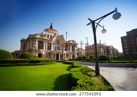 Palace of fine arts in Mexico city capital downtown in the morning - stock photo