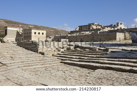 Palace of Knossos in Crete. Greece. Horizontal format - stock photo