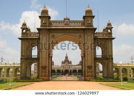 Palace of Mysore in India. - stock photo