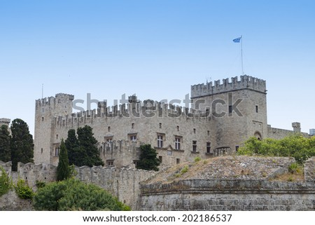 Palace of the Grand Master at Rhodes island in Greece. - stock photo