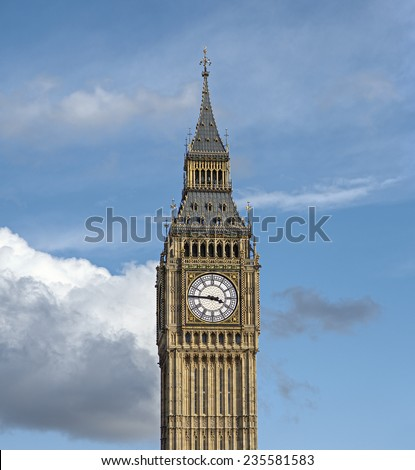 Palace of Westminster (Houses of Parliament) Elizabeth Tower (Big Ben clock tower), London, United Kingdom - stock photo