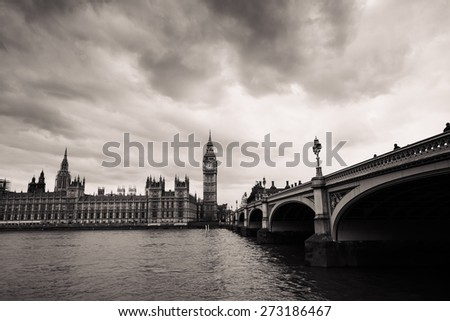 Palace of Westminster seen from South Bank, black and white.   - stock photo
