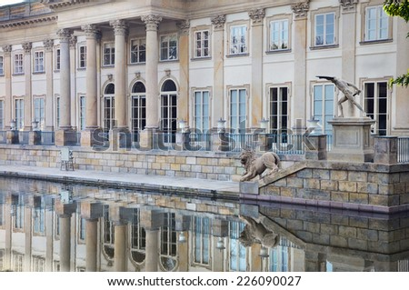 Palace on The Water in Warsaw. North facade with reflexions in the water. - stock photo