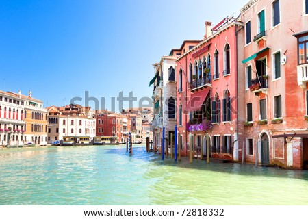 Palaces on Grand Canal Venice Italy. Vibrant color summer shot. another Venice shots available - stock photo