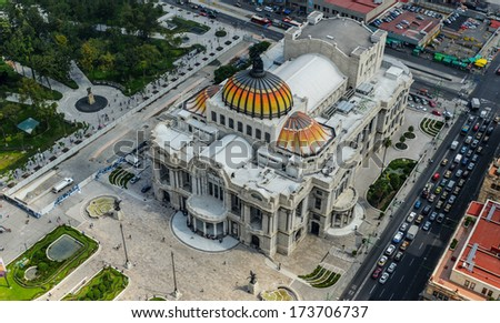 Palacio de Bellas Artes (Spanish for Palace of Fine Arts). Mexico City's main opera and theatre house as seen from above. An extravagant marble neoclassical structure inaugurated in 1934.  - stock photo