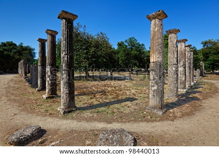 Palaestra monument (3rd cent. B.C.) in Olympia, Greece - stock photo