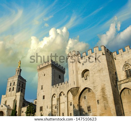 Palais des Papes - Palace of the Popes - in Avignon, France. - stock photo