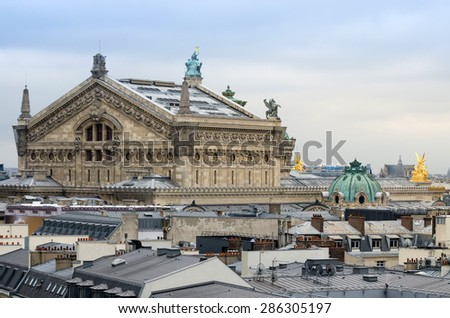 Palais Garnier(Opera House) with roofs of Paris, France - stock photo