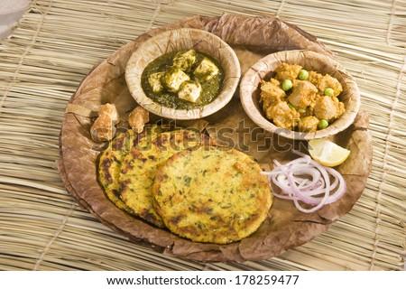 Palak Paneer, Masala Chees with Green Peas with Makki Ki Roti, Indian Food - stock photo