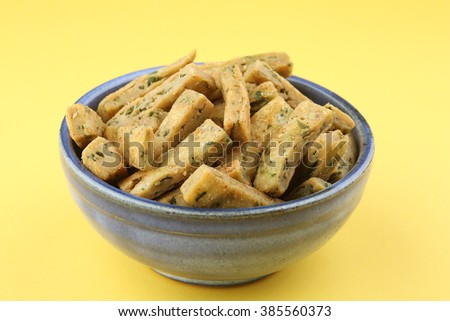 Palak Savoury snack or spinach  Savoury snack,indian food,indian Savoury snack - stock photo