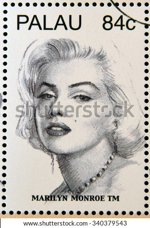 PALAU - CIRCA 2006: Stamp shows Marilyn Monroe - stock photo