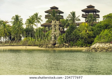 Palawan Beach with observation tower on Sentosa Island in Singapore - stock photo