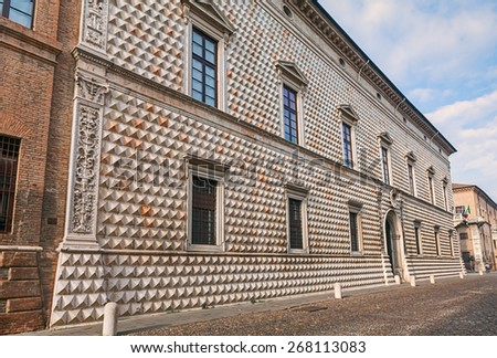 Palazzo dei diamanti (diamonds palace) in Ferrara, Italy, is one of the most famous italian ancient palaces as well one of the most influential examples of european renaissance architecture - stock photo