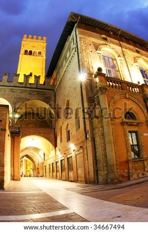 Palazzo del Podesta at night in the centre of Bologna. - stock photo