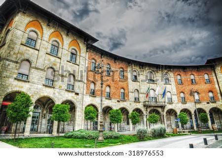 Palazzo della Provincia under a cloudy sky in Pisa, Italy - stock photo