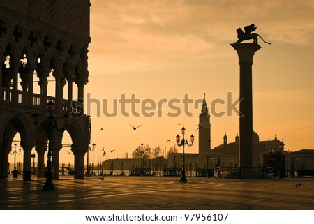 Palazzo Ducale (Doges Palace) at dawn - Venice, Venezia, Italy, Europe - stock photo