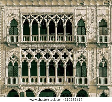 Palazzo Santa Sofia known as Golden House (Ca' d'Oro) - Venice, Italy (stylized retro) - stock photo