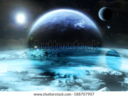 Pale Alien World - Elements of this image furnished by NASA - stock photo