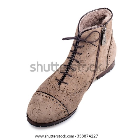 Pale brown suede boot isolated on white background.Top view. - stock photo