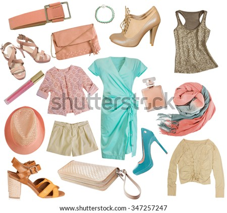 Pale colors female clothes & accessories mix set.Women apparel isolated on white.Spring summer clothing collage. - stock photo