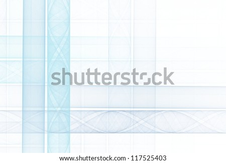 Pale cyan and blue abstract woven design on white background - stock photo