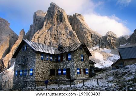 pale di san martino - dolomiti italy - view of rifugio volpi al mulaz and cima di focobon  - stock photo