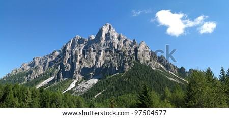 Pale di San Martino - Italy Dolomites - Trentino (taken from Col dei Cistri) - stock photo